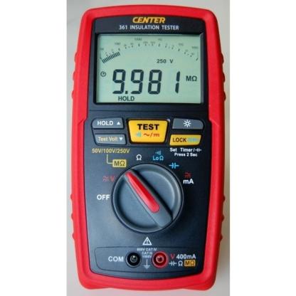 Miernik rezystancji izolacji i ciągłości z pomiarem długości kabla CENTER 361